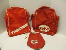 LOT OF 3 1960's TWA CARRY ON & DRAWSTRING BAG ~ 2 OVERNITE & 1 DRAWSTRING ~ RED
