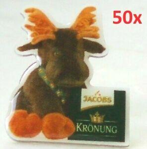 50-Stuck-Jacobs-Kaffee-Werbe-Pins-Packung-Kronung-mit-Elch-Pluschelch-Pin
