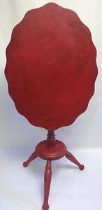 "Vtg Red Cornwall Folding Tilt Top Table Scalloped Edge 21.5"" Cottage Chic Shabby Antiques"