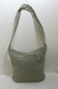 21c2e68fa2 Taupe Crochet Knit Shoulder Bag With Outer Front Pocket Zip Close ...