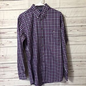 Paul-Fredrick-Men-Shirt-Sz-M-Long-Sleeve-Button-Up-Purple-Plaid-Finest-Cotton