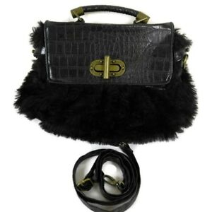 Bueno Handbag Black Faux Fur Clutch