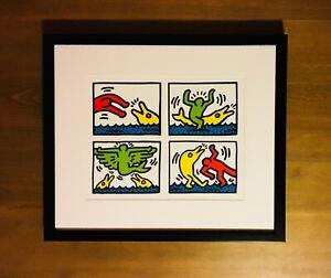 KEITH HARING Lithograph Print CUSTOM FRAMED Limited Edition Art Rare warhol