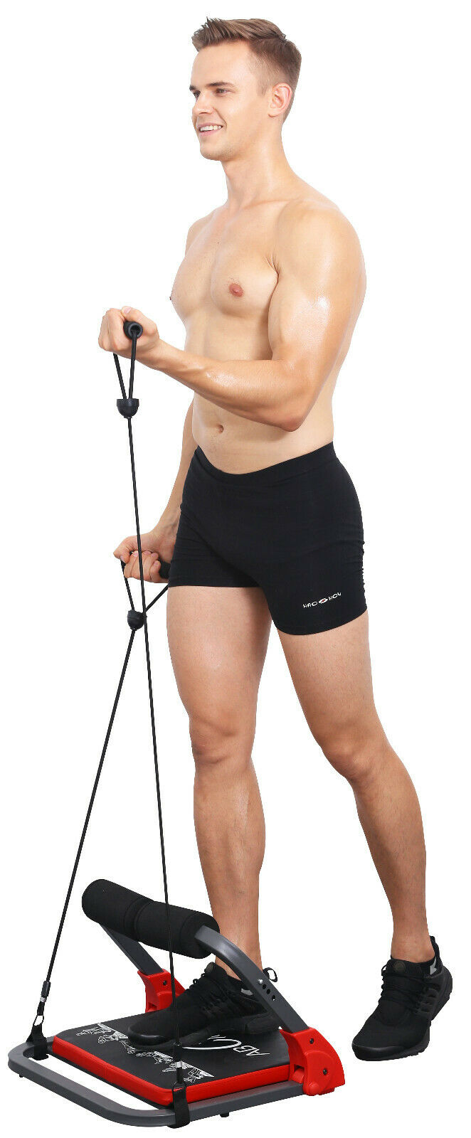 Details about  /Abdominal Crunch Machine Total Body Workout Gym Home Adjustable Resistance Bands