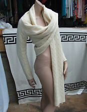 Ralph Lauren Cabel Knit Cashmere Verstile Cardigan /Open Jacket /Scarf /Coat M/L
