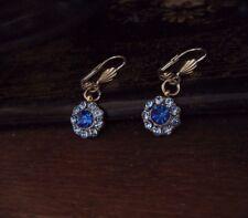 Vintage Sapphire Blue & Light Sapphire Crystal  Drop Pierced Earrings