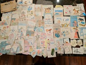 Lot-Of-102-Vintage-Used-Baby-Greeting-Cards-50-039-s-60-039-s-Hallmark-Norcross-amp-more