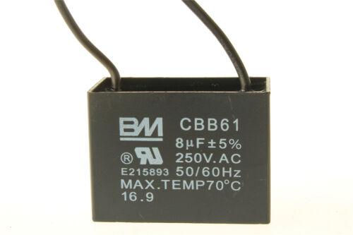 Small Generator Capacitor CBB61 8uF 250 VAC 50//60HZ Ceiling Fan Motor