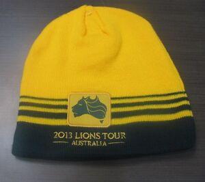 2013-LIONS-TOUR-AUSTRALIA-GOLD-WALLABIES-STRIPED-RUGBY-PATCH-CLOTH-BEANIE