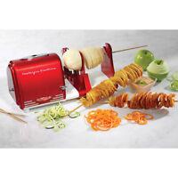Electric Potato Twister & Peeler Shred Vegetable Fruit Spiral Slicer Cutter, Red