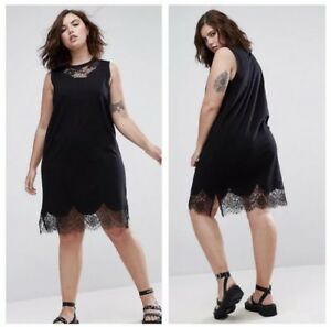 204518ecea4 Image is loading NWT-ASOS-Curve-Sleeveless-T-Shirt-Dress-Lace-