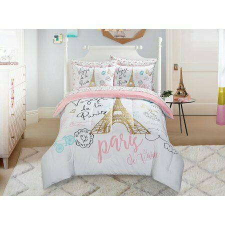 Teen Girl 5 Piece Reversible Pink, Pink And Mint Twin Bedding