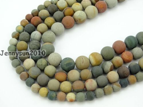 Natural Matte Polychrome Jasper Gemstone Round Spacer Beads 15.5'' 6mm 8mm 10mm
