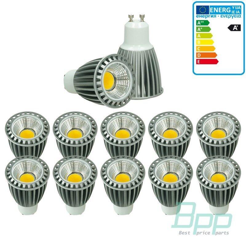 10 x LED COB gu10 spot lámpara lámpara Bombilla Iluminación regulable 9w blancoo cálido
