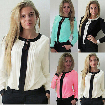 Sexy Women Ladies Crew Neck Chiffon Long Sleeve Loose Casual T Shirt Tops Blouse