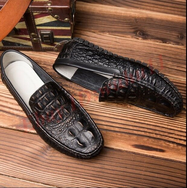 Retro Uomo Crocodile Pattern Loafers Slip On Shoes Fashion Dress Driving Shoes