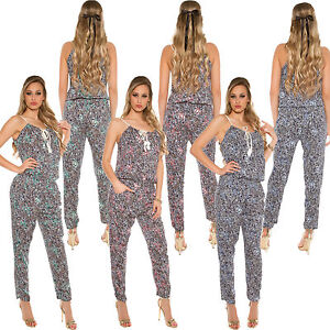 Damen Neckholder Overall Jumpsiut Playsuit Smok Hose S 34 36 Freizeit Party Club