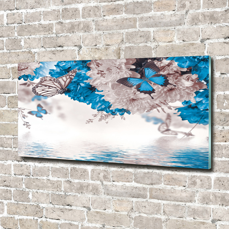 Wandbild aus Plexiglas® Druck auf Acryl 140x70 Blaumen & Pflanzen Blaumen