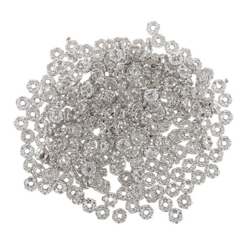 300x Rhinestone Rondelle Spacer Beads Bracelet Necklace Jewelry Findings 6mm