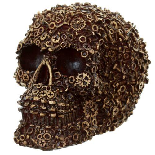 Industriedesign Totenkopf goldfarbend Var.1//2 Dekofigur Schrauben Schädel skull