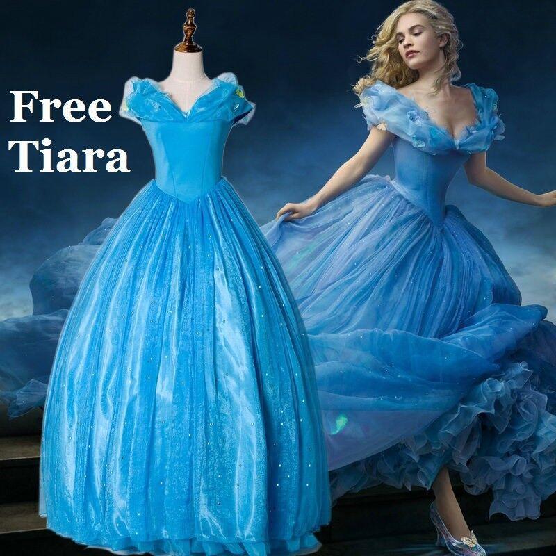 Cinderella Adult Gown Fancy Dress Blau party Wig  FREE Tiara & Gloves | Erste in seiner Klasse