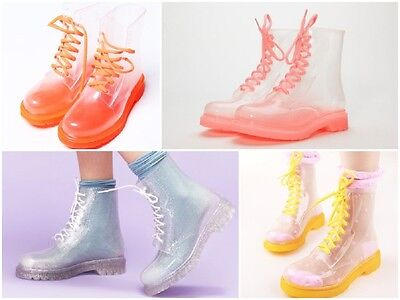 CLEAR JELLY GUMBOOTS Dr. Martens Style RETRO COLOURFUL ANKLE RAIN BOOTS WOMENS