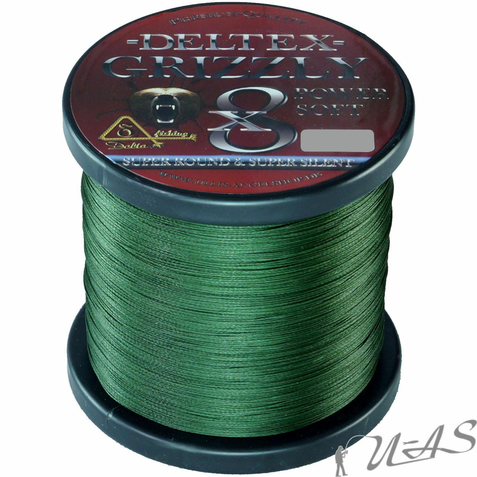 Deltex GRIZZLY verde 0.14mm 18,10kg 1000m 8 volte intrecciato Hi Tech LENZA