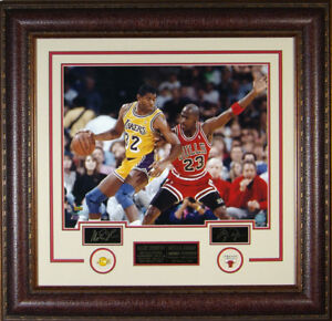 Michael-Jordan-amp-Magic-Johnson-Laser-Signed-Autographed-Framed-16x20-Photo-RP