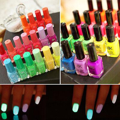 20 colors Lady Fluorescent Neon Nail Art Polish Glow In Dark Nail Varnish 7ml