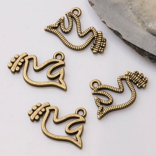 16pcs antiqued bronze color peace dove  design  charms  EF3391