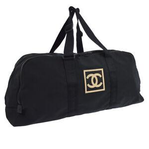 CHANEL-Sports-Line-CC-Logos-Travel-Hand-Bag-Purse-Black-Nylon-7863491-AK38298g