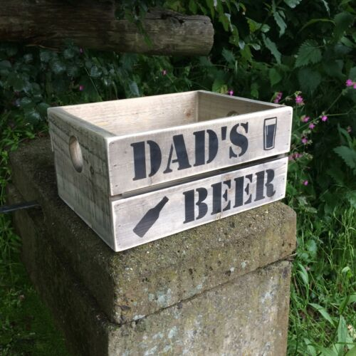 Dads Beer Crate Grey Blue Brown Pink White Green Personalised Free