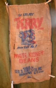 Vintage-Advertising-100-Burlap-Bag-TERRY-White-Kidney-Beans-Brockport-NY