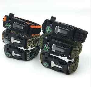 Paracord-Bracelet-Whistle-Gear-Flint-Fire-Starter-Scraper-Compass-Survival-Kits