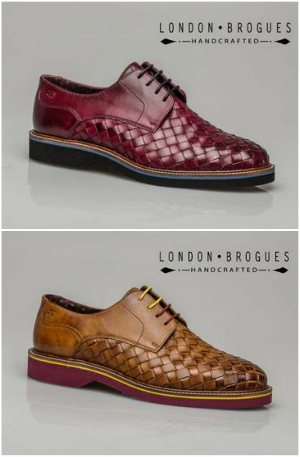 London Brogues Branson Mens Leather Formal Formal Formal Casual schuhe In Plum Or Tan 195f8b