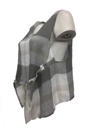 Plaid Grey Linen Vest Pullover Sleeveless Spring Nwt Trasparente Natural Asym OWwSUg8nZq