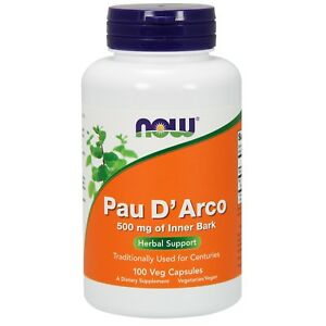 NOW Foods Pau D'Arco, 500 mg, 100 Veg Capsules
