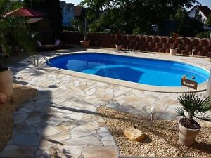 pool oval formbecken 700x350x150 cm komplettset mit kombihandlauf 7 0 ebay. Black Bedroom Furniture Sets. Home Design Ideas
