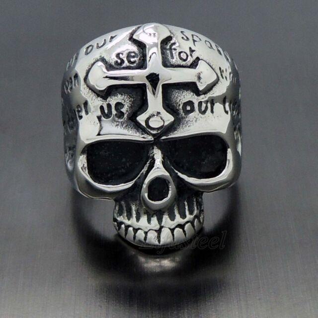 MEN's Gothic Skull Cross 316L Stainless Steel Biker Ring
