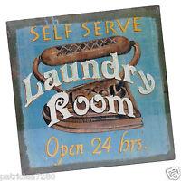 Tableau Peint Sur Toile laundry Peinture Deco Retro Style Publicitaire Anglais