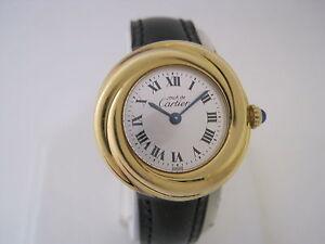 cartier ladies must de cartier trinity gold argent plaque or quartz watch. Black Bedroom Furniture Sets. Home Design Ideas