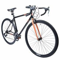 Muddyfox Omnium 700c Wheel Road Bike In Black And Rose Gold With 14 Speed Gears