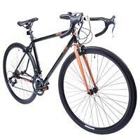 Muddyfox Omnium 700c Wheel Road Bike In Black And Rose Gold With 14 Speed Gears