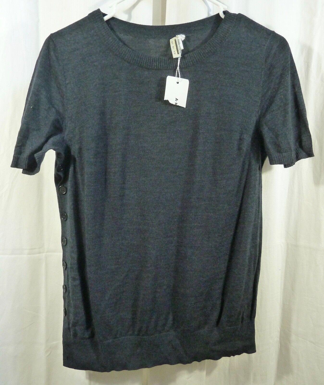 Akris Punto Side Button Shirt 386992 Denim Größe US 4