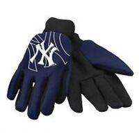 New York Yankees Blue Raised Team Logo Licensed MLB Sport Utility Gloves-New!