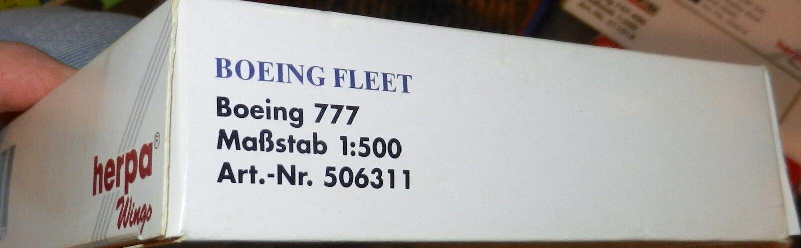 Herpa 506311 Boeing Fleet 1981 1981 1981 Demo House colors Boeing 777-200 1 500 Scale Mint 74b9f7