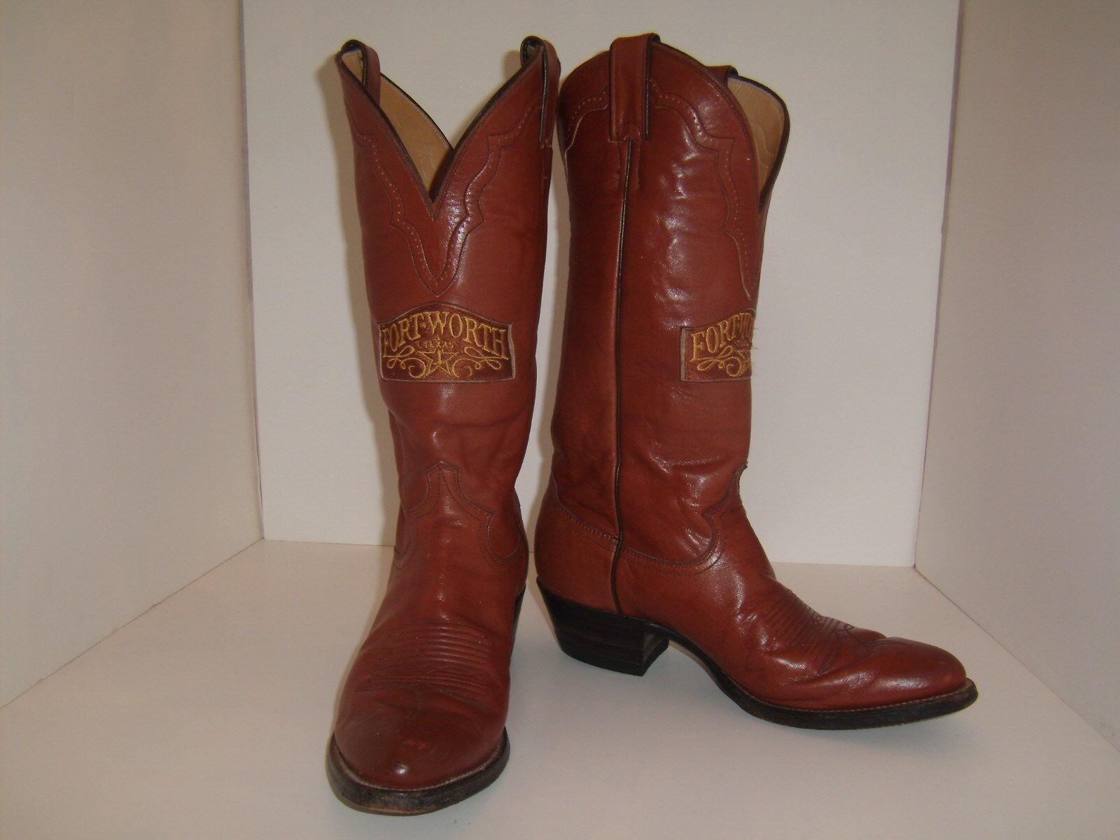 Vintage Justin SieS Cowboy Stiefel Commemorative Fort Worth Patches Größe 8 D