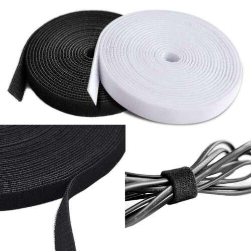1 Yard Self-Gripping Hook Loop Tape Reel Cable Tie Nylon Strap Black/White CA