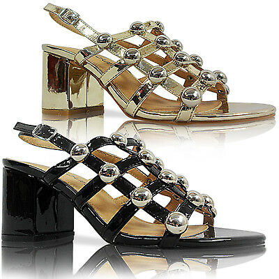 Kompetent New Womens Ladies Mid Low Block Heel Studded Peep Toe Shoes Sandals Size Party