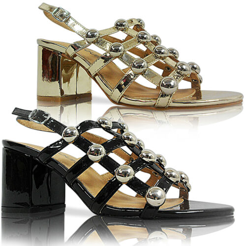NEW WOMENS LADIES MID LOW BLOCK HEEL STUDDED PEEP TOE SHOES SANDALS SIZE PARTY